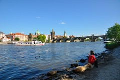 Prague : Charles bridge, gothic tower  and Regina boat photo by Pantchoa