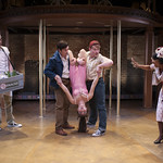 Jarrod Zimmerman, Adam Estes, Tiffany Topol, Liam Quealy and Karen Burthwright in SWEET CHARITY at Writers Theatre. Photo by Michael Brosilow.