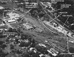 Chicago Aurora & Elgin 1960 aerial view in Wheaton photo by Mark LLanuza