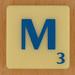 Scrabble blau Lletra M