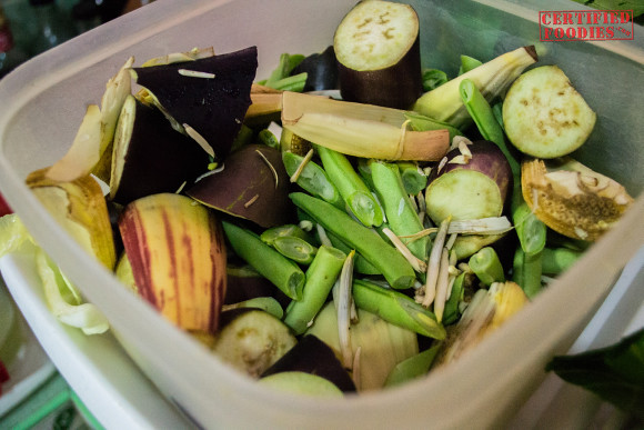 Kare-kare ingredients - eggplant, green beans, banana flower bud
