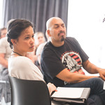 Actors Christine Bunuan and Madrid St. Angelo at the first rehearsal for JULIUS CAESAR at Writers Theatre. Photo by Joe Mazza—brave lux.
