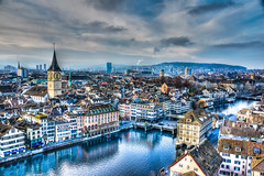 Old Town Zurich Switzerland with St Peterskirche, Rathaus and Limmat River photo by mbell1975