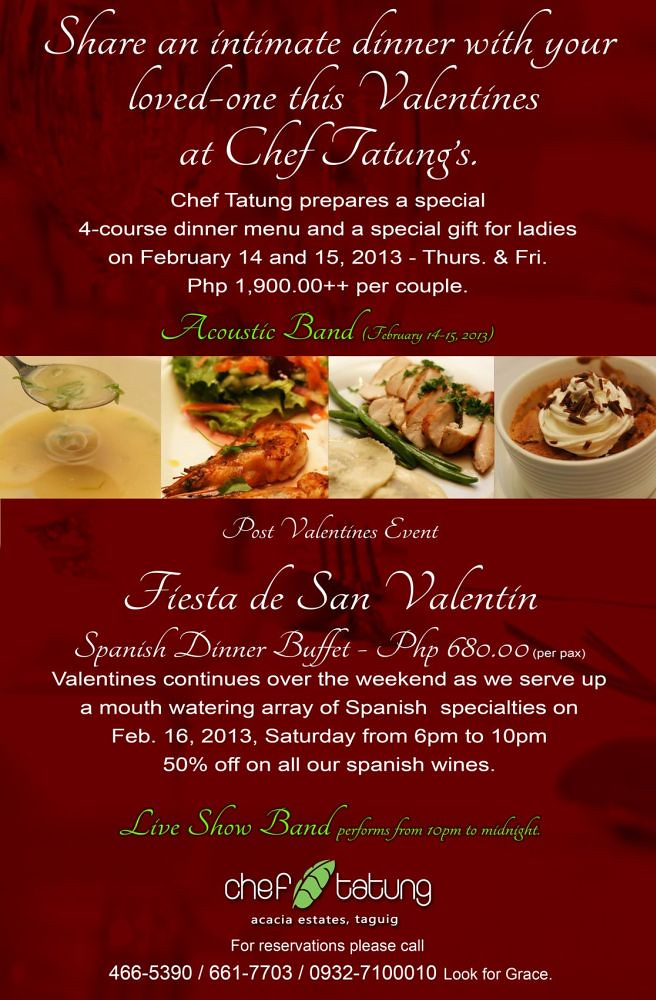 Chef Tatung's Garden Cafe Valentine's Day menu