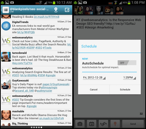 Hootsuite app for Android - it still allows you to schedule posts