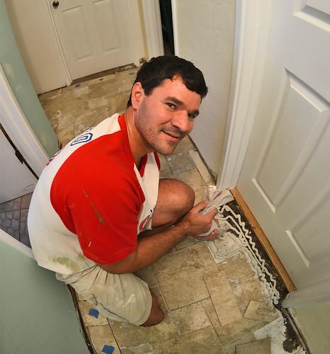 Finishing up the tile.