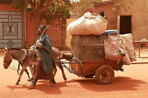 A donkey carriage along the streets in Ouagadougou, Burkina Faso.