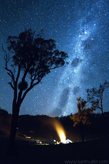 Maroon Dam milky way and campfire photo by Karl Muller