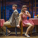 Jarrod Zimmerman (Oscar) and Tiffany Topol (Charity) in SWEET CHARITY at Writers Theatre. Photo by Michael Brosilow.