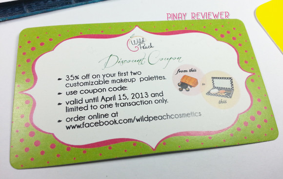 Glamourbox February 2013 - discount voucher from Wild Peach Cosmetics