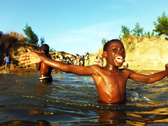 Swimming with the boys, River Gambia, Karantaba, The Gambia, W Africa  DSCF5302 copy photo by wordly images