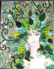 "Mixed Media mosaic ""Whisper in the Woods""-SOLD photo by Glass Garden Creations / Sharon Kelly"