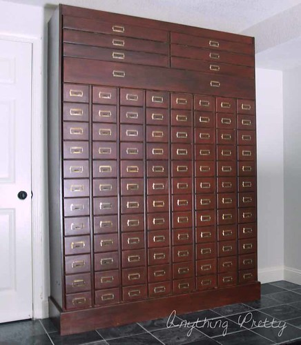 DIY card catalog murphy bed
