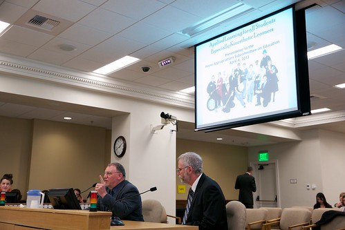 Clark County Skills Center Director Dennis Kampe and Matt Fluster, PhD, of MathFire testify in front of the House Appropriations Subcommittee on Education during a work session.