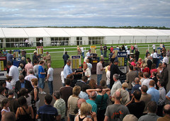 Bookmakers betting ring at Musselburgh Racecourse