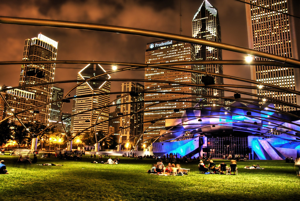 The Park in Chicago at Night