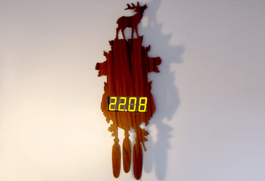 Fly-pitcher, Digital Stag Clock, Contemporry Cuckoo Clock, Faux Nature