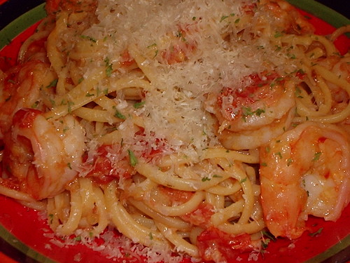 Fresh Garden Tomatoes & Shrimp Linguine