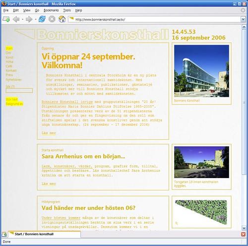 Websidan för Bonniers Konsthall