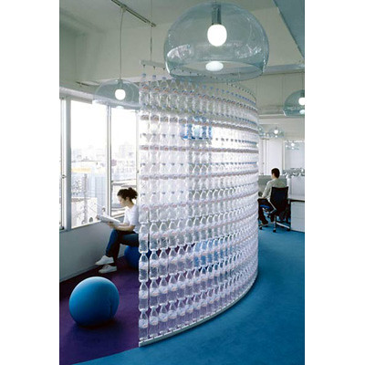 Room Divider from Water Bottles :  interior design inspiration modern design room dividers