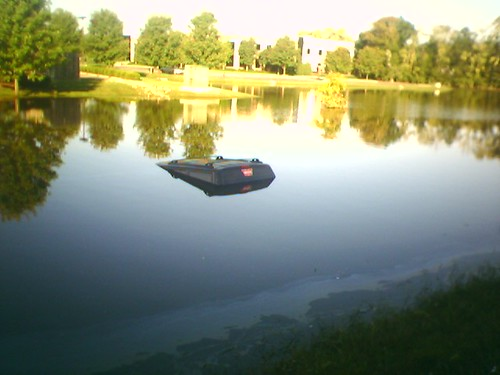 Someone drove their car into the flooded pond