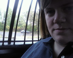 Yes, I am inside a police car.