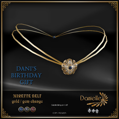 DANIELLE Mirette Belt Gold birthday gift