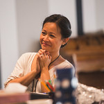 Actor Christine Bunuan at the first rehearsal for JULIUS CAESAR at Writers Theatre. Photo by Joe Mazza—brave lux.
