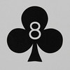 Round Playing Card 8 of Clubs