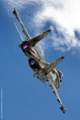 Sukhoi Su-35 performing at Russian Airforce 100th Anniversary show photo by Vasily Kuznetsov