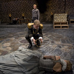Laertes (Timothy Edward Kane), Hamlet (Scott Parkinson), Claudius (Michael Canavan) and Gertrude (Shannon Cochran) in HAMLET at Writers' Theatre. Photo by Michael Brosilow.