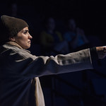Arya Daire (Soothsayer) in JULIUS CAESAR at Writers Theatre. Photo by Michael Brosilow.