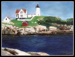 Nubble Light - Oil Painting by STEVEN CHATEAUNEUF (2011) - Photo Of Painting Also by STEVEN CHATEAUNEUF (2011) photo by snc145