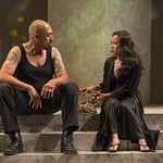 Madrid St. Angelo (Caesar) and Christine Bunuan (Calphurnia) in JULIUS CAESAR at Writers Theatre. Photo by Michael Brosilow.