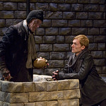 Gravedigger (Larry Yando) and Hamlet (Scott Parkinson) in HAMLET at Writers' Theatre. Photo by Michael Brosilow.