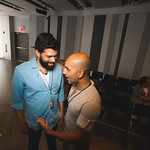 Actors Andy Nagraj and Kareem Bandealy at the first rehearsal for JULIUS CAESAR at Writers Theatre. Photo by Joe Mazza—brave lux.