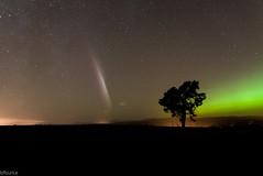 Ray burst and green aurora photo by Bryan Burke