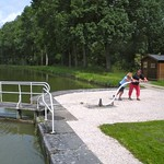 guests help open the lock