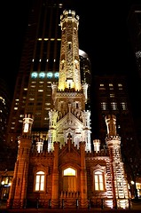 Chicago Water Tower illuminated at night, Illinois photo by Sir Francis Canker Photography ©