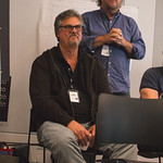 The Sound Design team of Rob Milburn & Michael Bodeen at the first rehearsal for JULIUS CAESAR at Writers Theatre. Photo by Joe Mazza—brave lux.