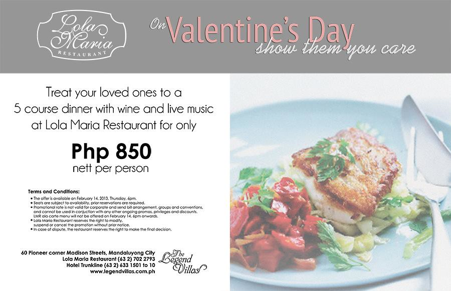 The Legend Villas Lola Maria restaurant Valentine's Day menu