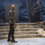 Kareem Bandealy (Brutus) and Matt Hawkins (Ligarius) in JULIUS CAESAR at Writers Theatre. Photo by Michael Brosilow.