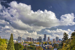 Portland Downtown City Skyline in Autumn - HDR photo by David Gn Photography