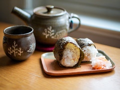Onigiri and namasu photo by Ronan Collett