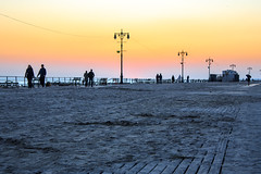 Sunset.  Coney Island Boardwak after Hurricane Sandy. photo by drpavloff