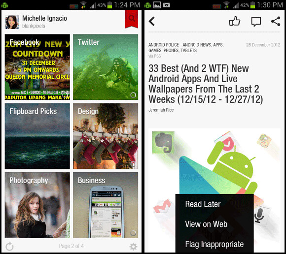 Flipboard app for Android interface - get the latest updates from your favorite sites