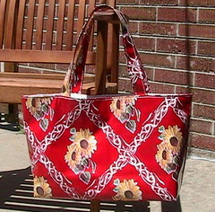 Red oilcloth tote