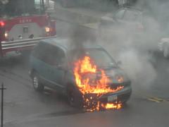 Minivan on fire (take 2)