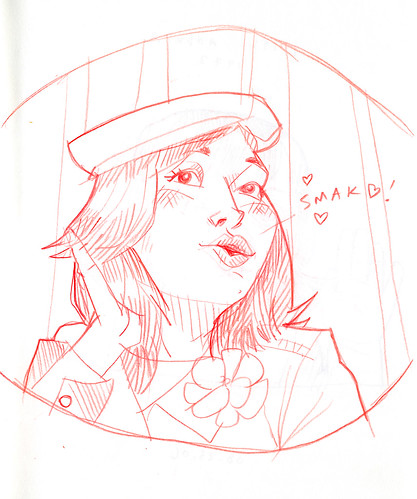 sketch of andrea blowing a kiss