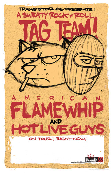 American Flamewhip/Hot Live Guys tour poster